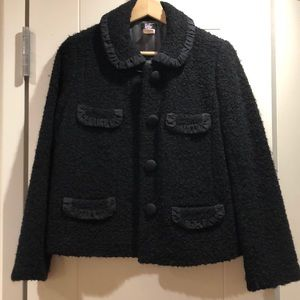 Jcrew boucle tweed black jacket size 4